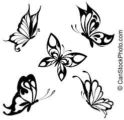 mariposas, conjunto, negro, blanco, ta