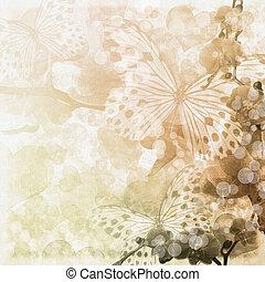 Mariposas y orquídeas flores de fondo beige (1 de set)