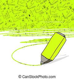 marker., oficinacomercial, exitoso, vector., gráficos, highlighter amarillo, destacado