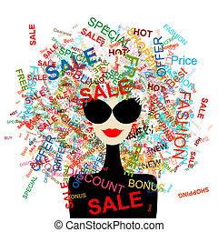 ¡Me encanta la venta! Mujer de moda con concepto de compra para tu diseño