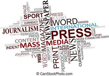 medios, periodismo, nube, etiquetas