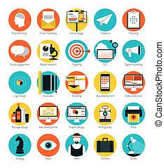 Mercadeo y servicios de diseño iconos planos
