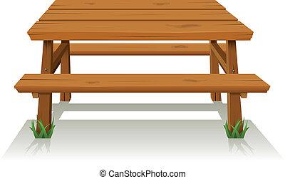 Mesa de madera de picnic