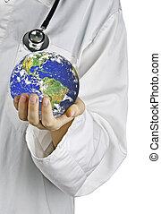 Metáfora de cuidar de la Tierra. Elementos de esta imagen provista por la NASA