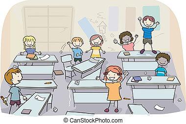 Mete a los chicos en clases sucias