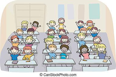 Mete a los niños en clase