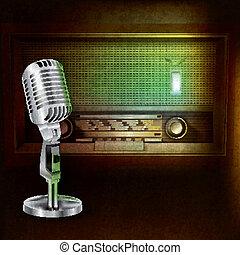 micrófono, radio, resumen, plano de fondo, retro