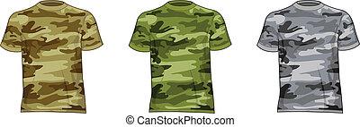 militar, hombres, camisas