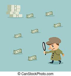 mirada, dinero, vidrio, utilizar, herlock:, aumentar