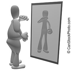 mirar, persona, grasa, espejo