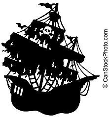 Misterioso barco pirata silueta