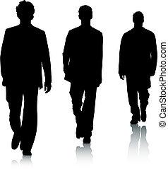 moda, silueta, hombres