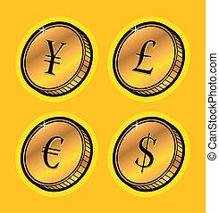 moneda, coins, dorado
