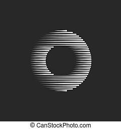 Monogram O letra logo creatividad diseño forma bucle, concepto de tipografía font líneas blancas y negras rayadas maqueta de anillo