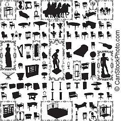 Muebles antiguos, cien vectores