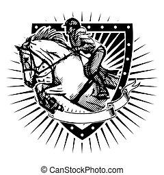 Muestra un escudo saltarín
