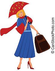 mujer, abrigo azul, caricatura, paraguas rojo