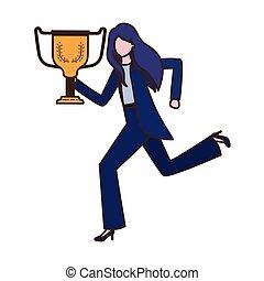Mujer de negocios con personaje de trofeo avatar