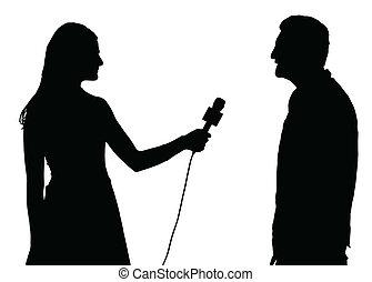 mujer, entrevista, entrevistador, prensa, conducido