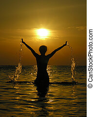 mujer, salida del sol, dro