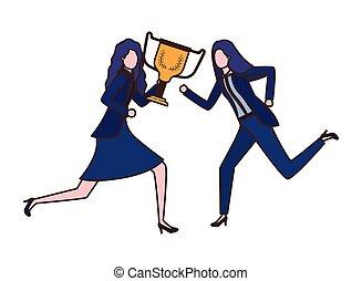 Mujeres de negocios con personaje de avatar trofeo
