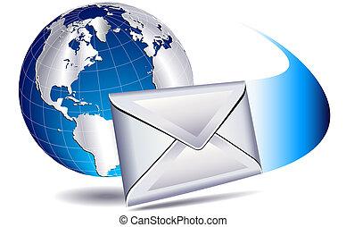 mundo, envío, email