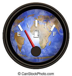 mundo, gasolina, calibrador