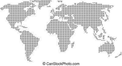 mundo, punteado, mapa