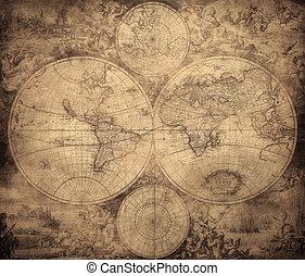 mundo, vendimia, 1675-1710, hacia, mapa