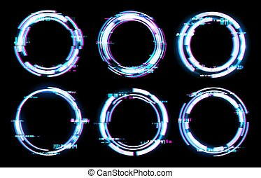 neón, glitch, digital, efecto ligero, marcos, círculos