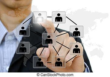 Negocios jóvenes empujando a la gente a la red social a la pizarra.