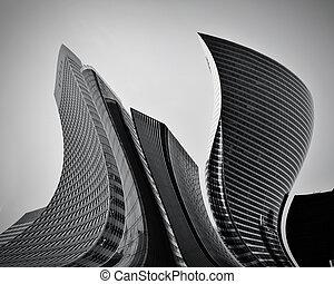 Negocios rascacielos abstractos de arquitectura conceptual