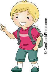 niño, estudiante, dedo que señala