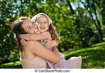 niño, -, felicidad, ella, madre