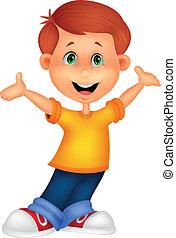 niño, feliz, caricatura, posar
