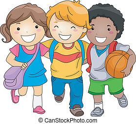 niños, amigos, estudiante