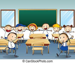 Niños bailando dentro de la clase