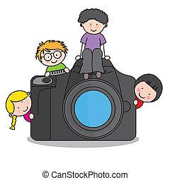 Niños con una cámara