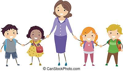 Niños de escuela y maestro de escuela