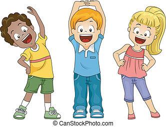 niños, ejercicio