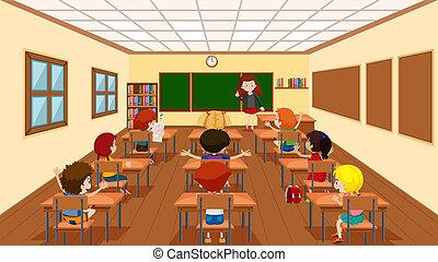 Niños en la escena del aula