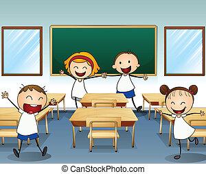 Niños ensayando dentro de la clase