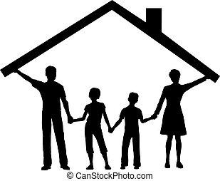 niños, familia , casa, encima, techo, debajo, hogar, asimiento