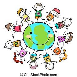 Niños felices jugando alrededor del planeta tierra
