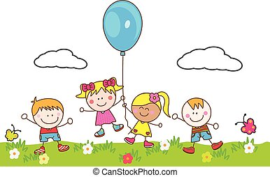 Niños felices jugando globo en el parque