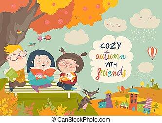 Niños felices leyendo libros en el parque de otoño