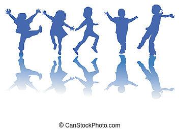 Niños felices siluetas