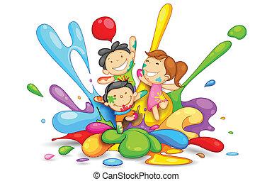 Niños jugando a los holi