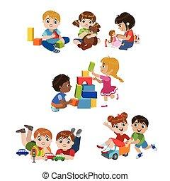 Niños jugando adentro