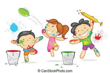 Niños jugando al holi